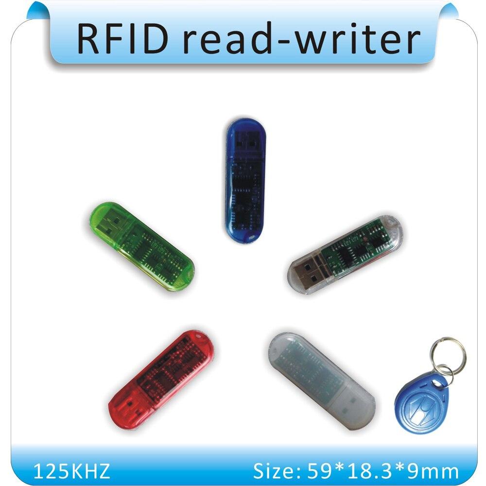 Free shipping USB no drive MINI 125KHZ H- ID Card Writer /RFID copier/Duplicator +10pcs T5557 cards+English software