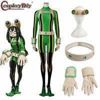 Cosplaydiy Anime My Hero Academia cosplay Boku no Hero Akademia Tsuyu Asui Costumes Hero Frog Suit costume Halloween Custom Made