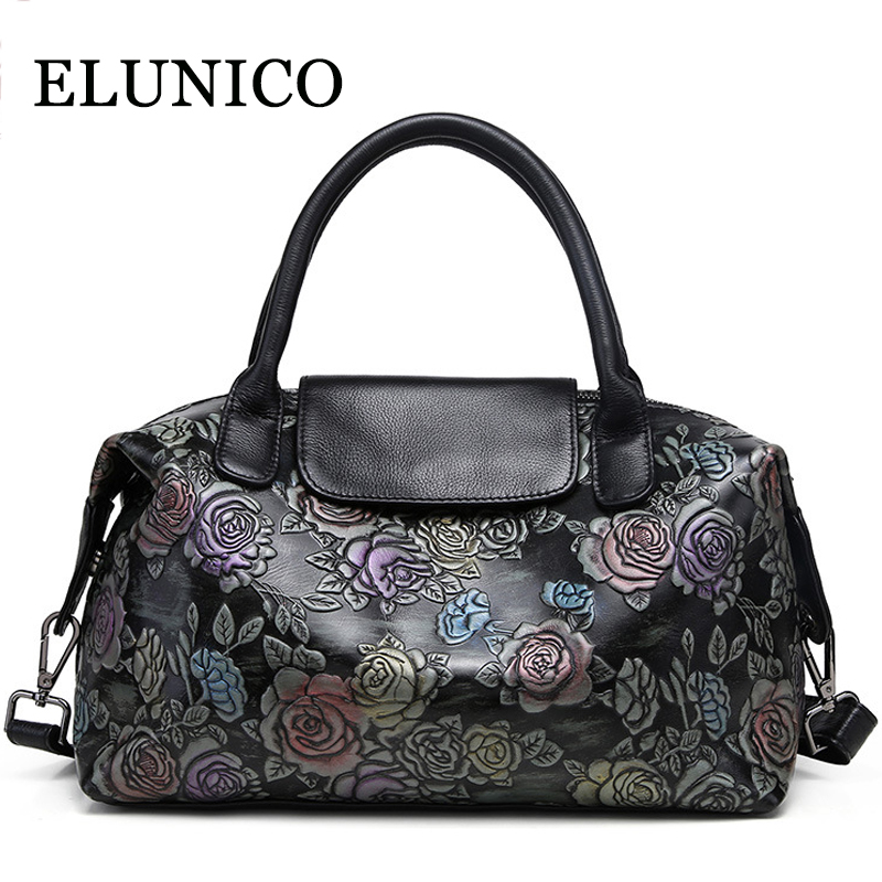 ELUNICO Cowhide Printing Tote Bag Fashion Casual Floral Genuine Leather Women Handbag Large Capacity Messenger Shoulder Bags 2017 new women handbags first layer cowhide simple large capacity handbag fashion tote bags commuter bag shoulder messenger bags