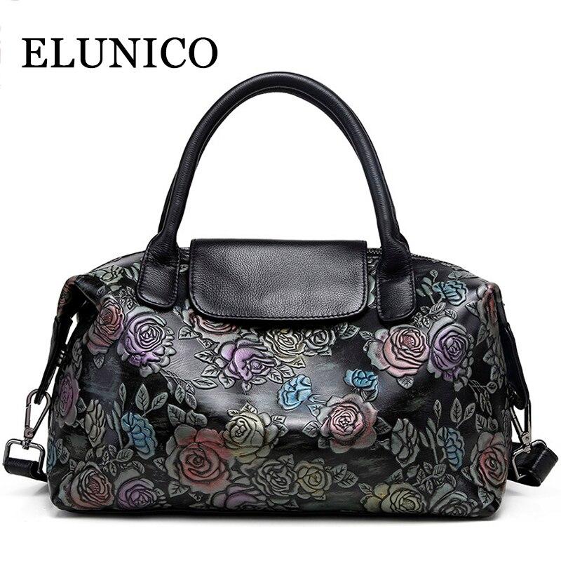 ELUNICO Cowhide Printing Tote Bag Fashion Casual Floral Genuine Leather Women Handbag Large Capacity Messenger Shoulder Bags недорого