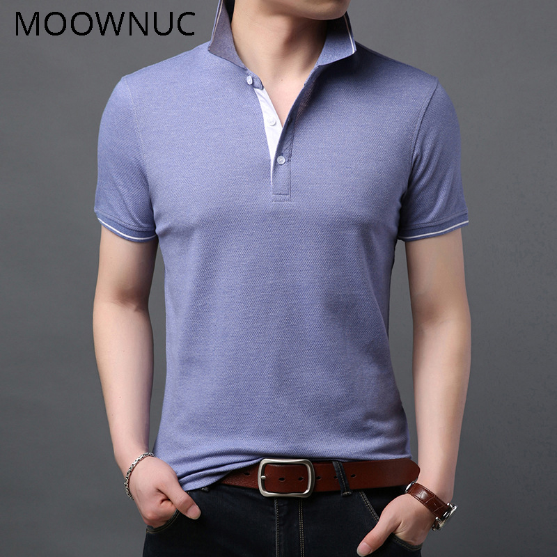 Polo   Shirts Solid color Short Sleeve Lapel Slim Classic style Cotton MOOWNUC Summer Business Fashion Casual Men MWC Non-Ironing