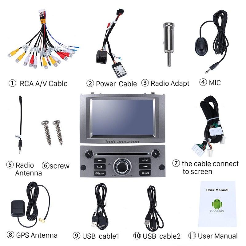 Seicane 1 Din 7 pouces Android 8.0 autoradio système de Navigation GPS lecteur multimédia pour 2004-2010 Peugeot 407 avec FM Bluetooth - 4
