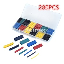 280Pcs PE Assorted Heat Shrink Tubing Car Electrical Insulation Cable Tube Wrap Sleeve Wire Kit 5 Colors 8 Size For Car-styling
