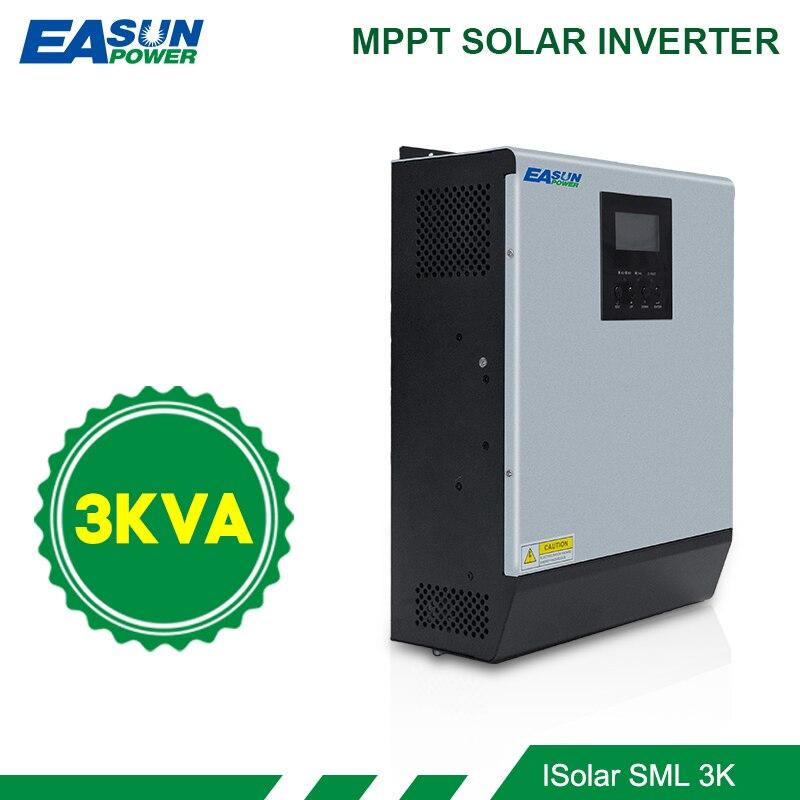 EASUN POWER 3KVA Solar Inverter 2400W 24V 220V Hybrid Inverter Pure Sine Wave Built-in MPPT Solar Controller Battery Charger