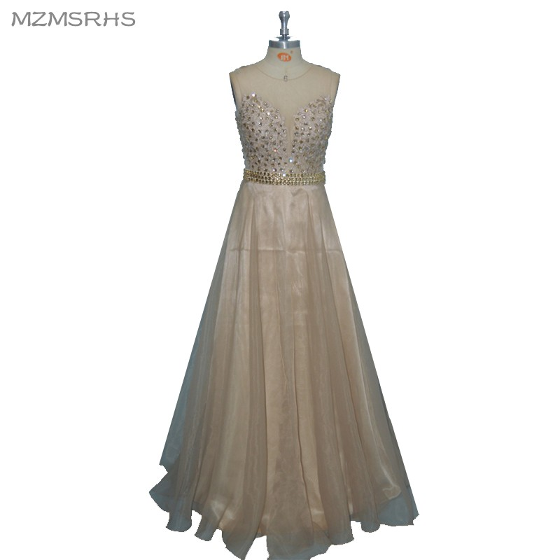 Elegant Champange Applique Vintage Formal Evening Dress Vestido De - Special Occasion Dresses
