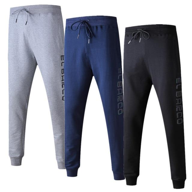 EL BARCO Autumn Cotton Men Casual Pants Discolored Letter Long Black Male Sweatpants Blue Grey Soft Skinny Joggers Trousers