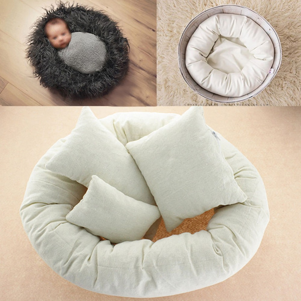 4 PCs Set Photography Props Newborn Infant Baby Photography Basket Filler Wheat Donut Posing Props Baby