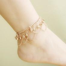 Brand Tassel Anklet 2016 New Ankle Bracelet Pulseras Tobilleras Gold Anklets For Women Summer Fine Jewelry Barefoot Sandals