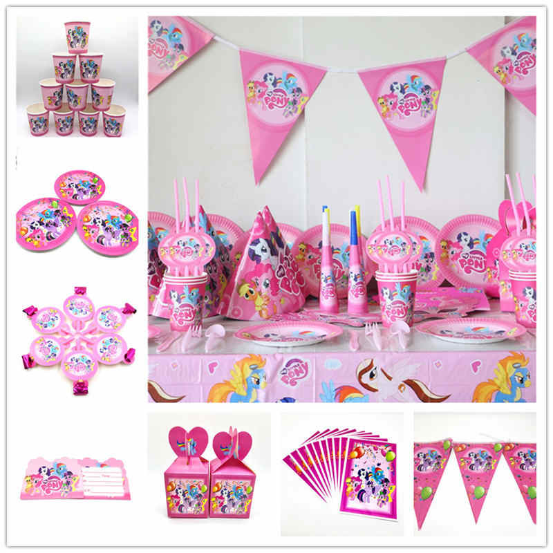My Little Pony Theme Kid Boys Favor Birthday Pack Event Party Cute Cup Plate Mask Baby Shower Disposable Tableware Sets Supply