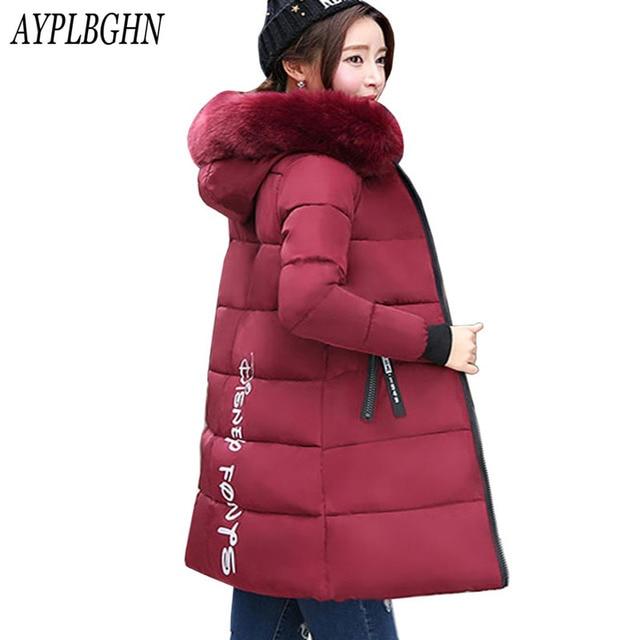 63c4ccc7c € 27.96 49% de réduction|Grande taille veste d'hiver 2017 femmes coton  manteau fourrure col capuche Parka femme longues vestes épais chaud manteau  ...