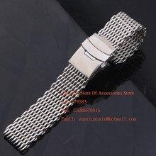 Plata 18mm 20mm 22mm 24mm Ancho Shark Mesh Correa correas de Metal de Acero Inoxidable pulseras de reloj accesorios estilo de la moda