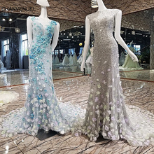LS00135 Mermaid Evening Dress Long Shiny Sequins Zipper Back Flowers Blue and Grey Prom Dresses Abendkleider Real Photos