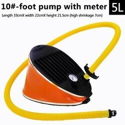 Flgt-portable nadmuchiwana pompka nożna pompa powietrza do łodzi kajak tratwa z manometrem