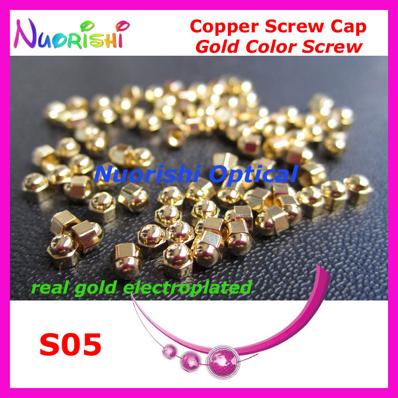 10000pcs Glasses Eyewear Eyeglasses Gold Electroplated Brass Screws Hexagon Hex Caps Nuts 1.4mm 1.2mm  S05 Free Shipping