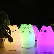 Cute Luminaria USB Cat LED Children Animal Night Light Silicone Soft Cartoon Baby Nursery Lamp Christmas Led Drop ship