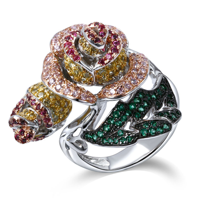 Elegant Jewelry Big Rose Flower and Leaf 2-Tones Rhodium color Pave Setting AAA Cubic Zirconia Bright Colorful stones Brass Ring весовой стек body solid wsp15