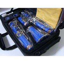 17 Key Bakelite Tube Bb Clarinet Surface Nickel Plated Blue Body in B flat Clarinet Professional Musical Instrument
