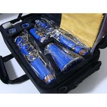 17 Key Bakelite Tube Bb Clarinet Surface Nickel Plated Blue Body in B flat Clarinet Professional Musical Instrument