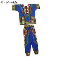 Mr Hunkle New Fashion 100% Cotton African Costume Set African Blue Print Dashiki Set for women Dashiki Men Bazin Riche
