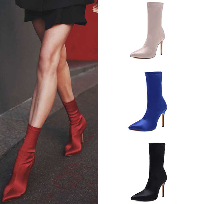 372b056547 Ankle Sock Boots Thin Heel High Heels Elastic Ankle Boots Pointy Toe Women  Shoes Sexy Party