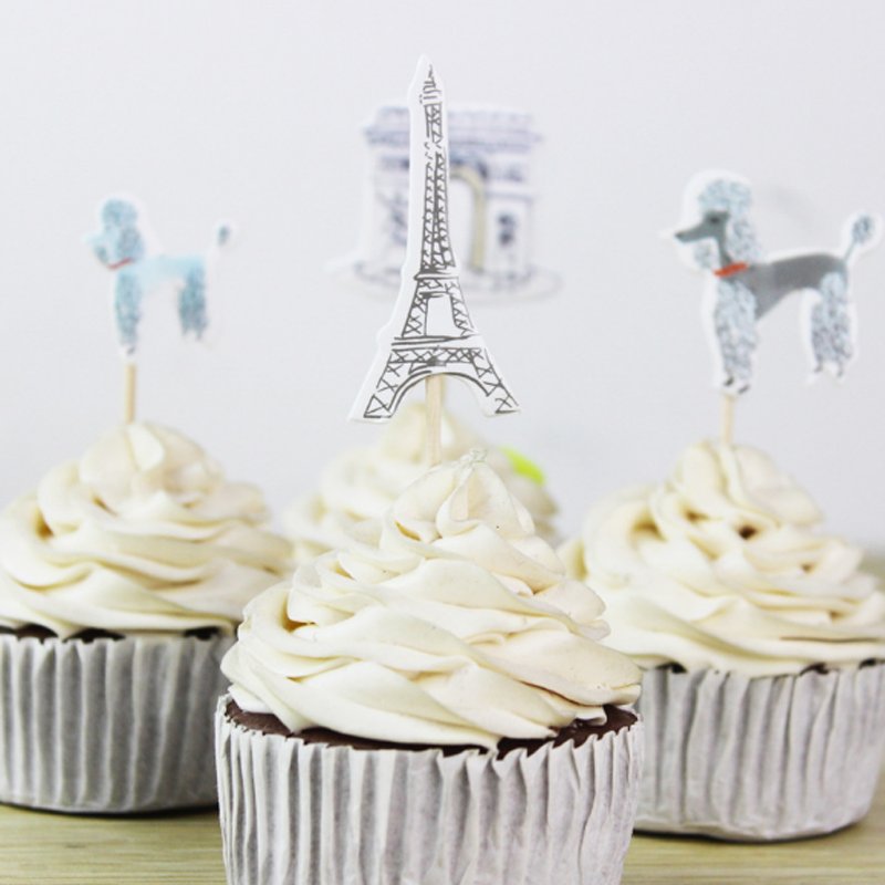 48 Pcs/set Lovely Cartoon Paris Tower Cupcake Topper Pick Wedding Decoration Girl Kids Birthday Party Decoration