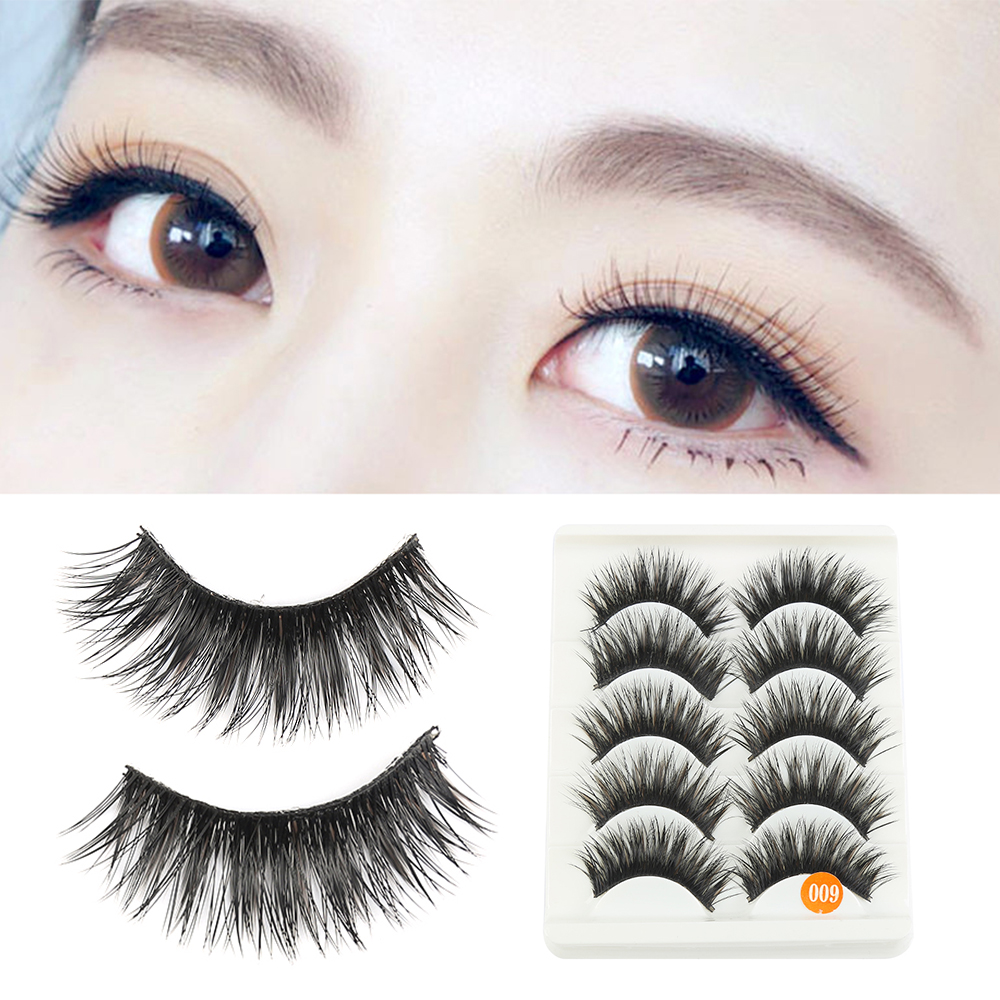 ELECOOL 5 Pairs Handmade Lashes False Eyelashes Extension Thick Long Lashes Brown+Black Long Thick Cross Makeup Cosmetic Tool