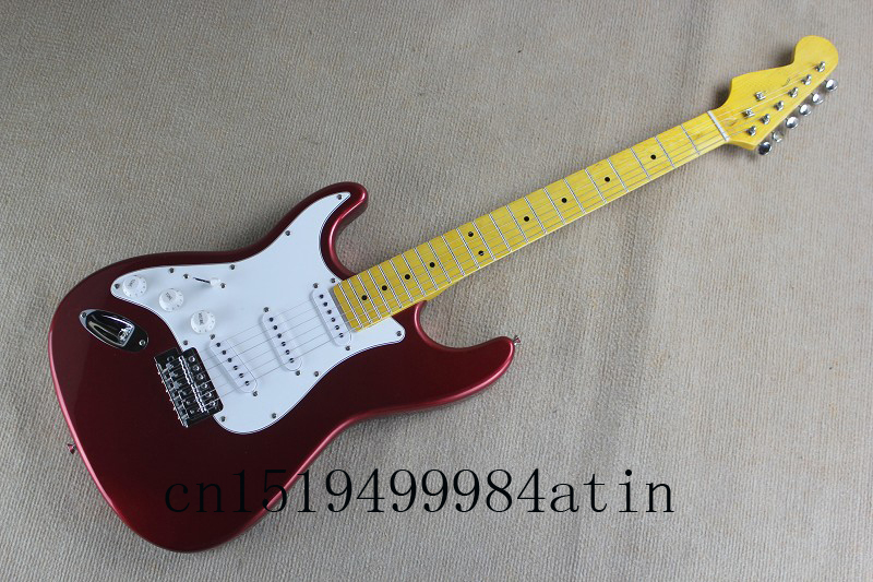 Free Shipping Custom Shop ST Strat Stratocaster Red Electric Guitar With 3 Pickups Left Handed Guitar & Body Available @2 free shipping new arrival on sale f stratocaster sky blue custom body maple fingerboard electric guitar in stock 16