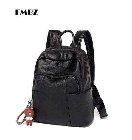 New FMBZ Girl student backpack shoulder bag female 2018 new wild leather + PU large capacity backpack Mummy bag free shipping free shipping new 2017 fashion pu white black with rose butterfly pattern student backpack cheap backpacks bb033