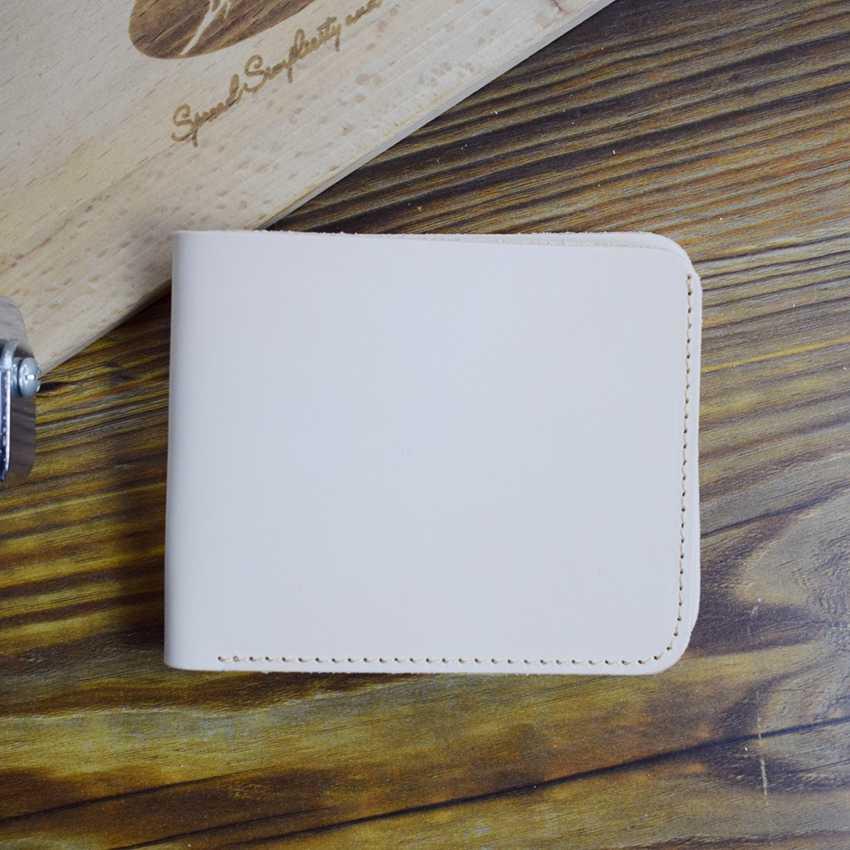 Minimalist กระเป๋าสตางค์หนังแท้ Handmade CUSTOM Photo สีเดิมผักกระเป๋าหนังสั้นผู้ชายและผู้หญิง