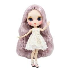 ICY DBS lalki Blyth biała skóra piękny fioletowy mieszane kolor loki 1/6 wspólne body nowy matowy twarz z brwi Lip połysk DIY zabawki