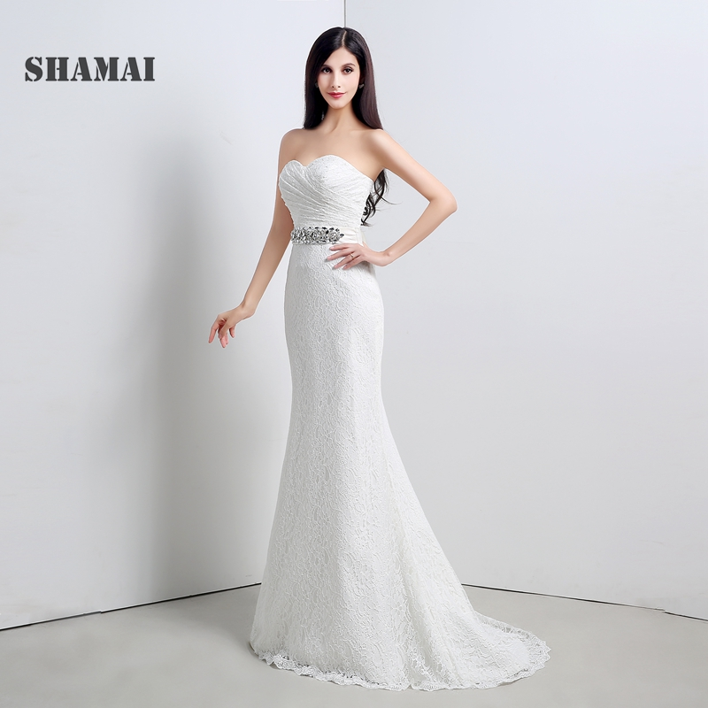 Cheap Mermaid Wedding Gowns: In Stock Cheap Elegant Ivory Lace Crystal Beading Sash