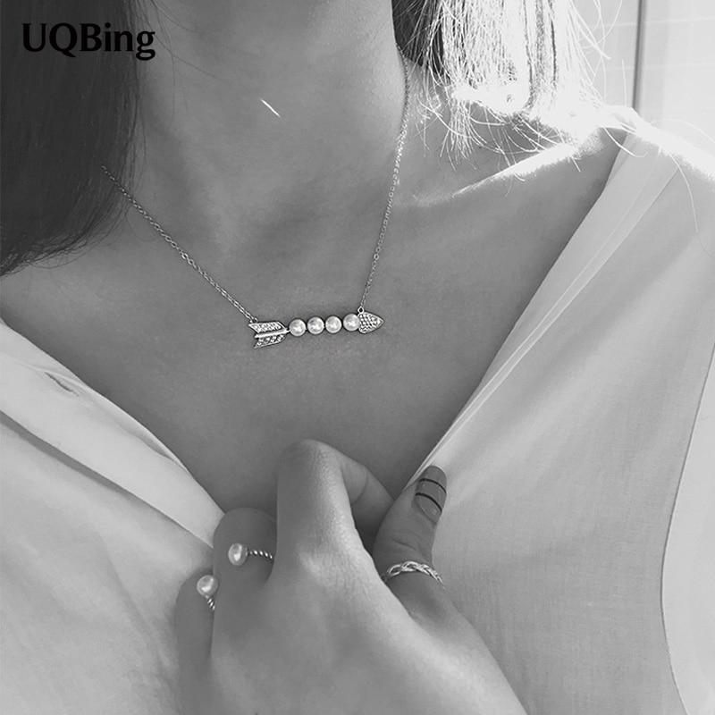 2016 New Drop Shipping 925 Sterling Silver Necklaces Arrow Pearl Necklaces Jewelry Collar Colar de Plata monochrome