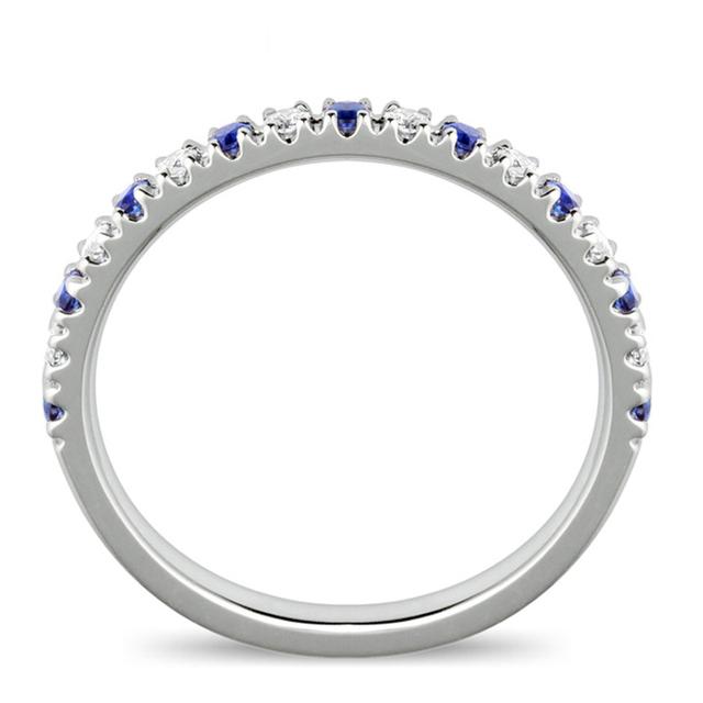 Classic 18K Rose Gold Anniversary Band 0.4cttw Sapphire Diamond Wedding Band Women All-match Daily Life Ring Sapphire Jewelry