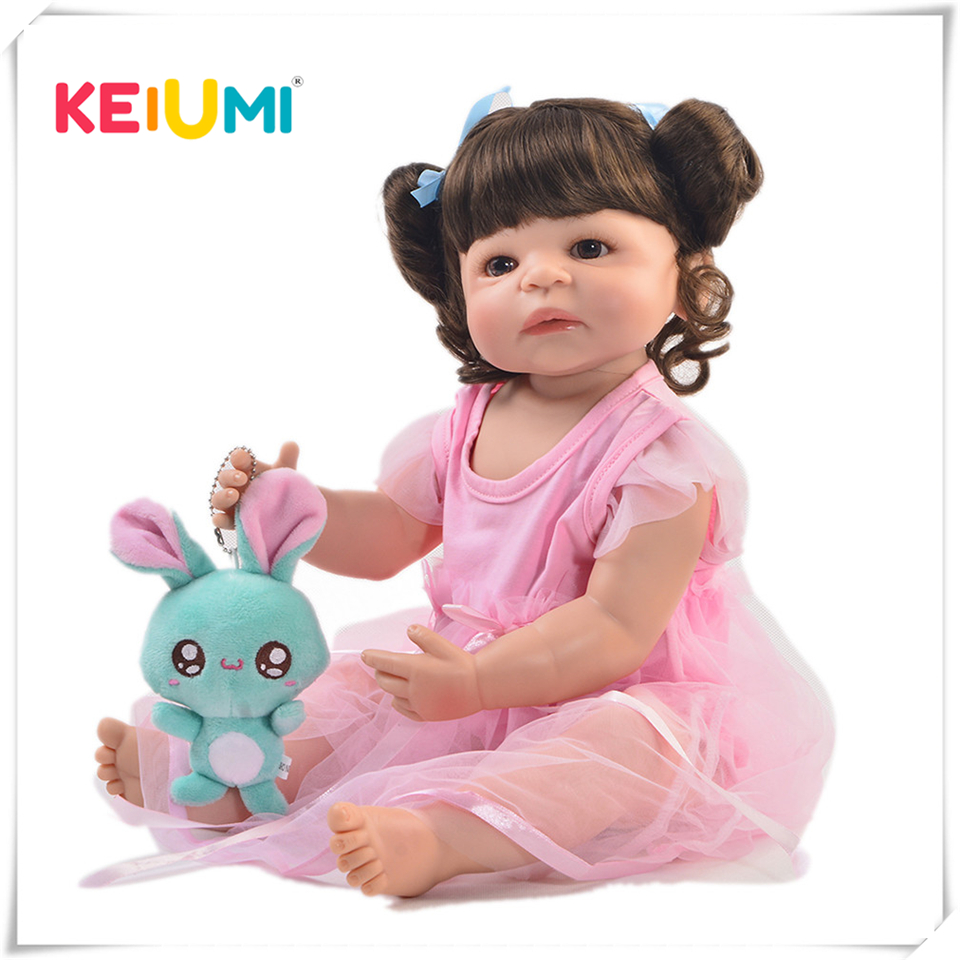 Fashion 22 Inch Reborn Girl Baby Doll Full Body Silicone Realistic Princess Baby Doll Toy For