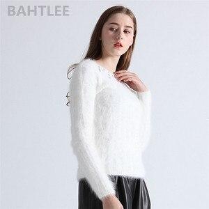 Image 3 - BAHTLEE jesień zima kobiety Angora Jumper z długim rękawem dzianiny paski swetry sweter utrzymać ciepło Handwork biały diament
