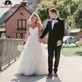 Продажи Спагетти Ремень Пляж Свадебные Платья 2016 Vestido Noiva Praia Простой Белый Тюль Casamento Свадебные Платья Быстрая Доставка