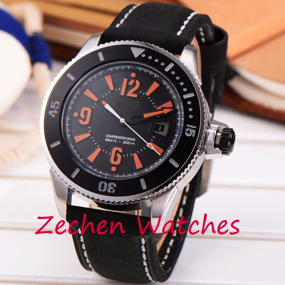 42mm Bliger men's black watch stainless steel watch mechanical watch fashion calendar automatic mechanical watch