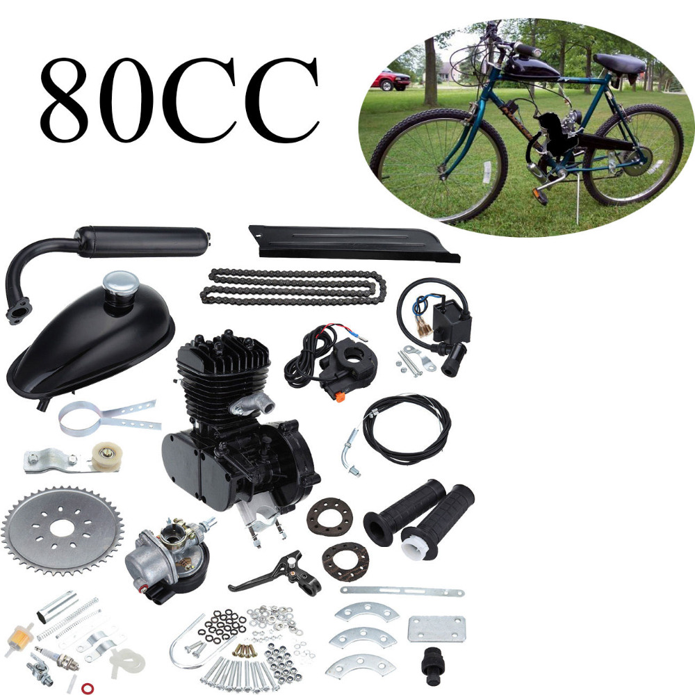 Black 80cc 2 Stroke 26 quot 28 quot Gas Muffler Motor Bicycle Motorized Bike Engine kit in Woodworking Machinery Parts from Tools
