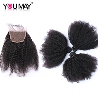 Монгольский афро странный вьющиеся волосы человека Связки с закрытием человеческих волос 3 Weave Связки 4 шт. вы можете