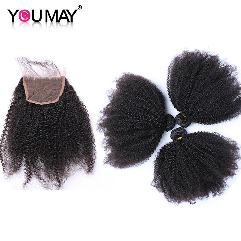 Mongolski Afro perwersyjne kręcone ludzkie włosy wiązki z 4X4 koronka zamknięcie ludzkich włosów 3 splot wiązek 4 sztuk można remy włosy w 3/4 pasma z siateczką od Przedłużanie włosów i peruki na AliExpress - 11.11_Double 11Singles' Day 1