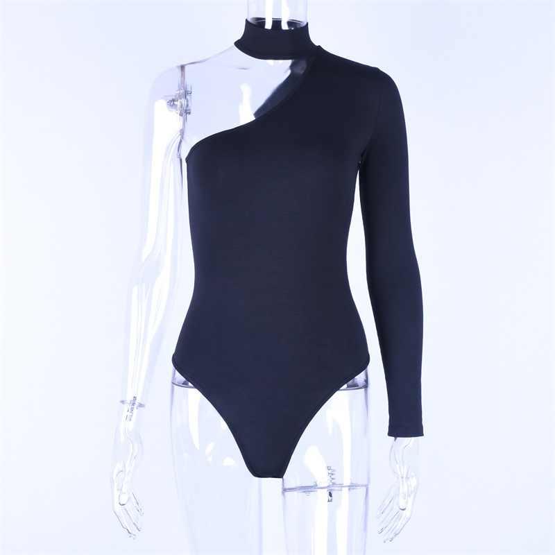 Hugcitar algodón halter un hombro sexy bodysuit mujer nueva moda 2019 invierno primavera sólido ceñido casual cuerpo de manga larga