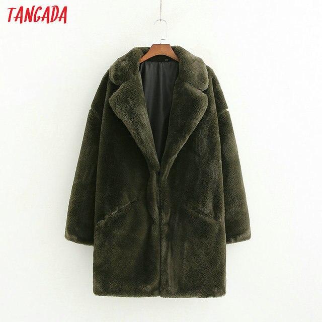 Tangada femmes faux fourrure long manteau d'hiver femelle chaud chic manteau dames poches pardessus vintage outwear 1D09