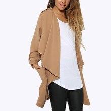 Autumn Winter Coats 2016 Fashion Women Long Sleeve Jacket Thin Solid Coat Long Cardigan Casual Loose Tops Plus Size
