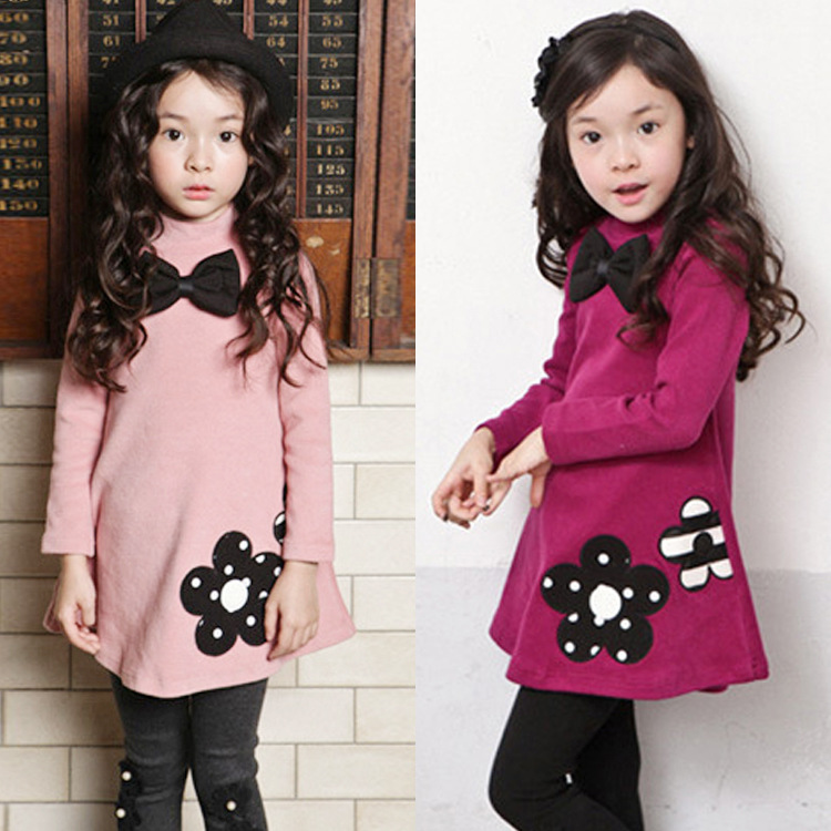 Girls Dress 2018 new Autumn winter Pure color O-neck Kids Clothes Long Sleeve Not falling velvet 2-3-4-5-6-7 Baby Girl Clothes