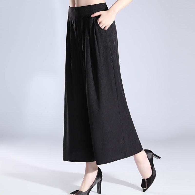 Зеленые шелковые широкие брюки fem me женские пляжные богемные офисные повседневные брюки Полная длина 2019 Лето плюс размер свободные - 4