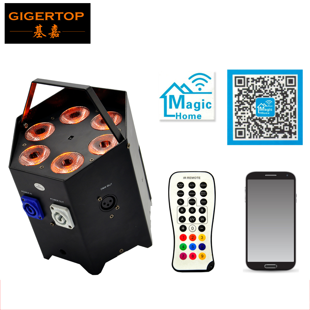 TIPTOP TP-G3046-6IN1 6IN1 Hexagon Battery Power & Wireless DMX512  Intelligent IR Remote Control Stage Wash Up-Light Sound/Auto