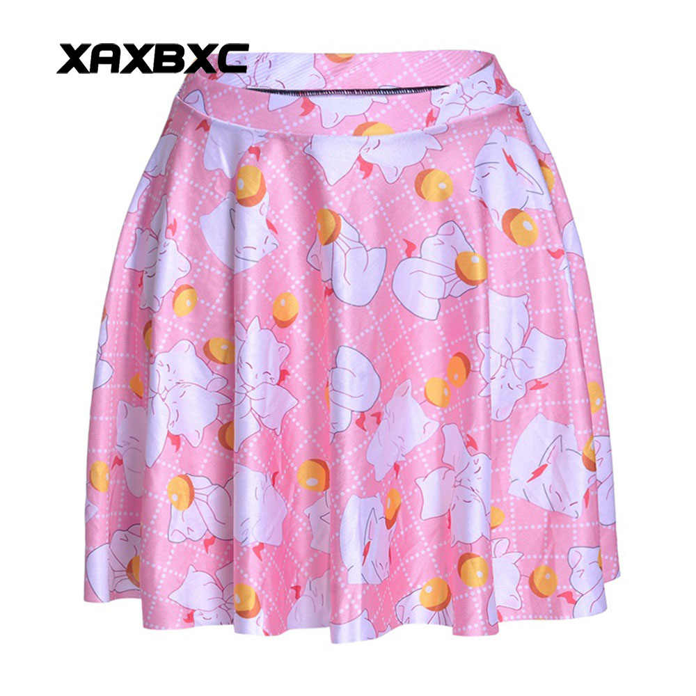 NEW 1208 Summer Sexy Girl Cute Cat kitty Ball Plaid Printed Cheering Squad Tutu Skater Women Mini Pleated Skirt Plus Size