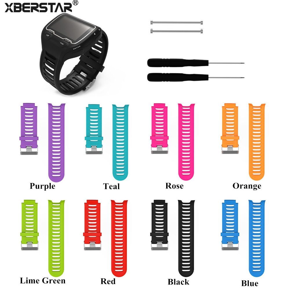 Silicone Watch Band Strap for Garmin Forerunner 910XT GPS Triathlon Running Swim Cycle Training Sports Watch with Tools