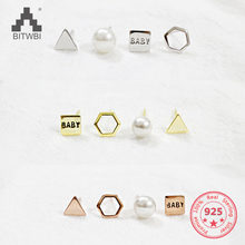 4 pieces 925 sterling silver geometric earrings Fashion Concise Trangle Pearl Stud Earrings Set(China)