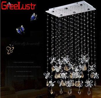 Nueva moda venta mariposa LED Ángel colgante de cristal luces dormitorio moderno K9 de la lámpara de techo de cristal de lujo habitación de esquina